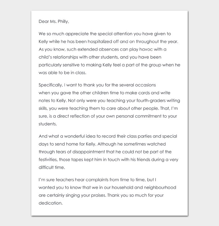 Thank You Note to Teacher #08