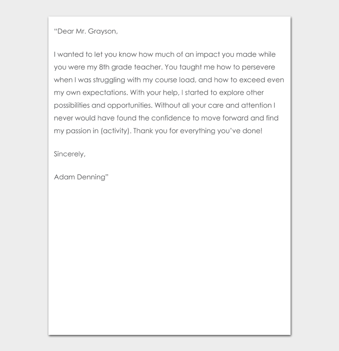 Thank You Note to Teacher #11