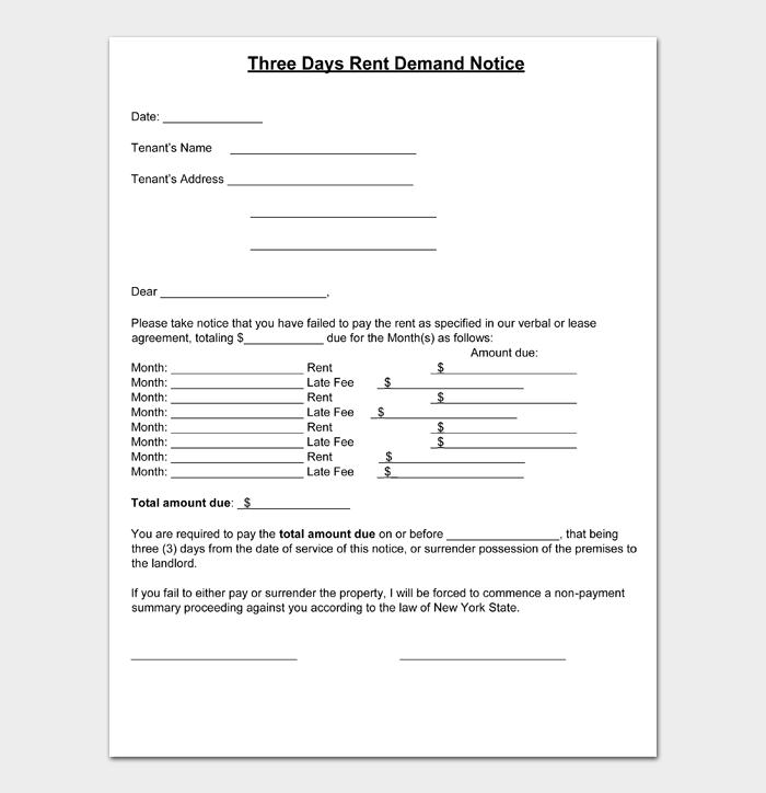 Three Days Rent Demand Notice