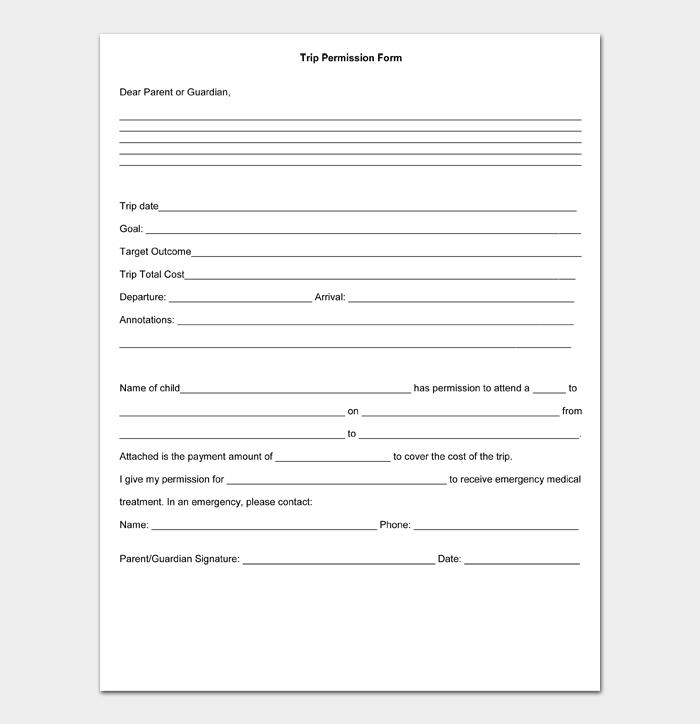 Trip Permission Form