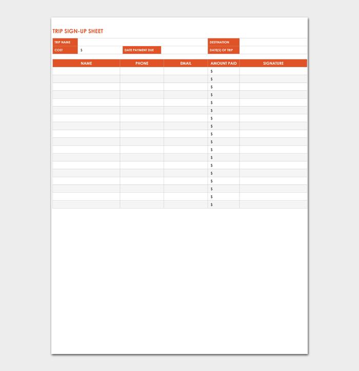 Trip Sign Up Sheet Template