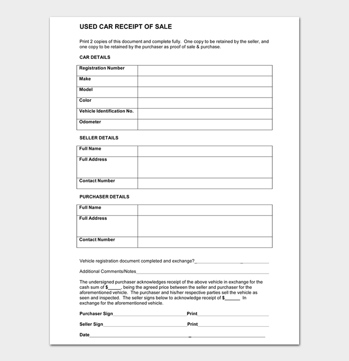 USED CAR RECEIPT OF SALE