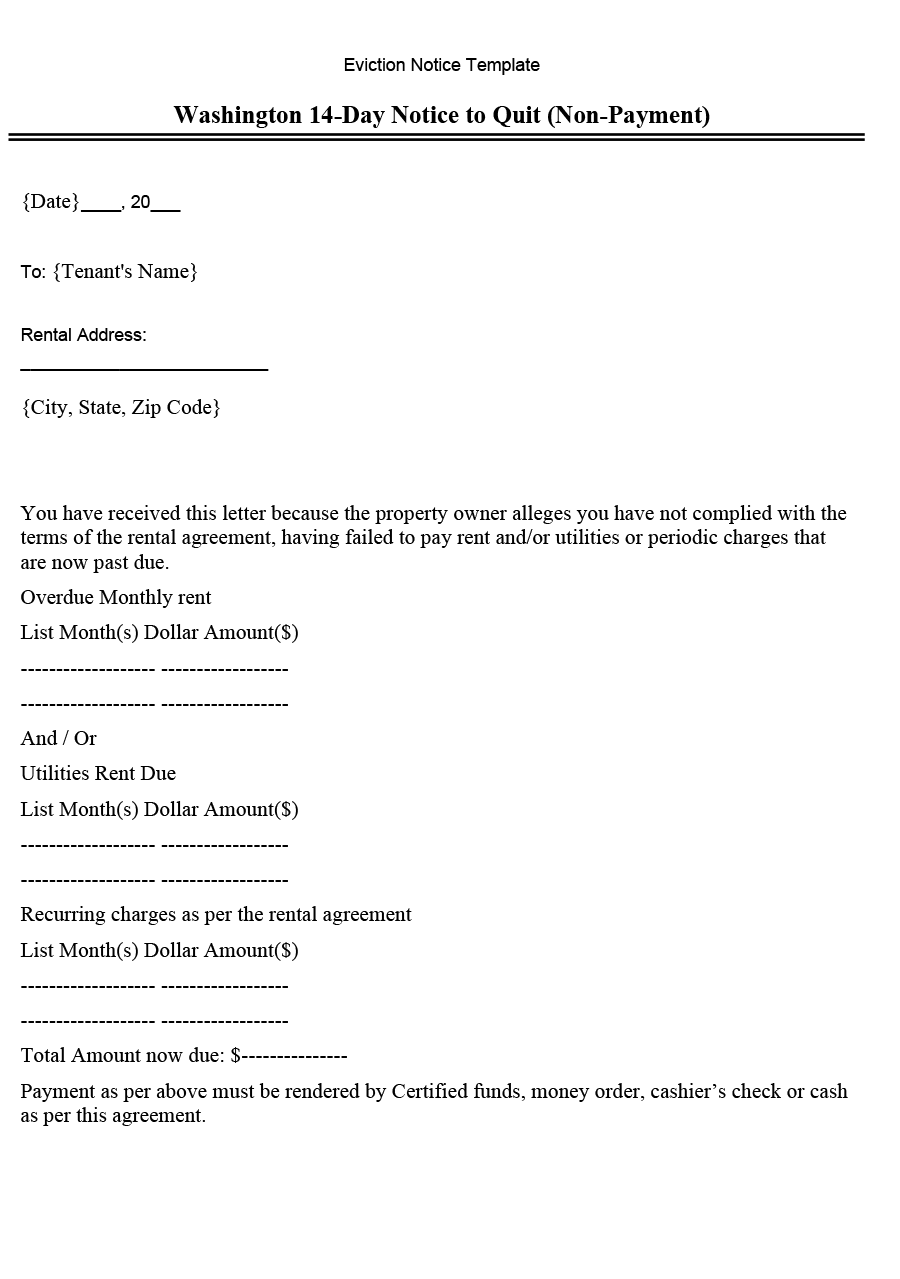Washington 14-Day Notice to Quit (Non-Payment) (Word Template)