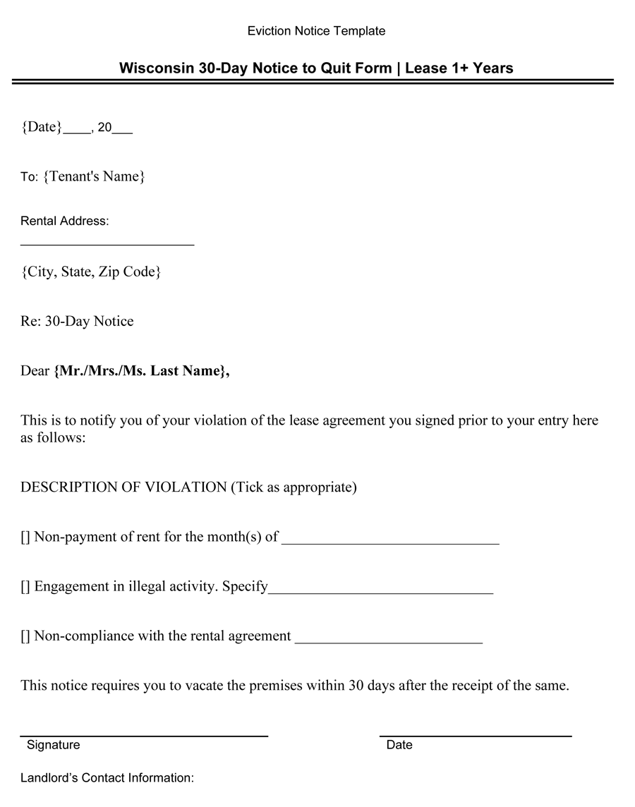 Wisconsin 30-Day Notice to Quit Form (Lease 1+ Years)