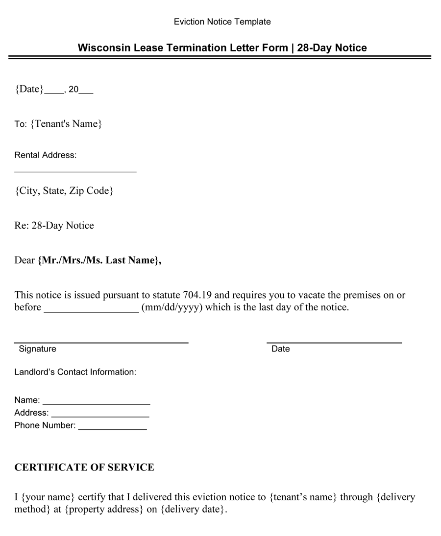 Wisconsin Lease Termination Letter Form (28-Day Notice)