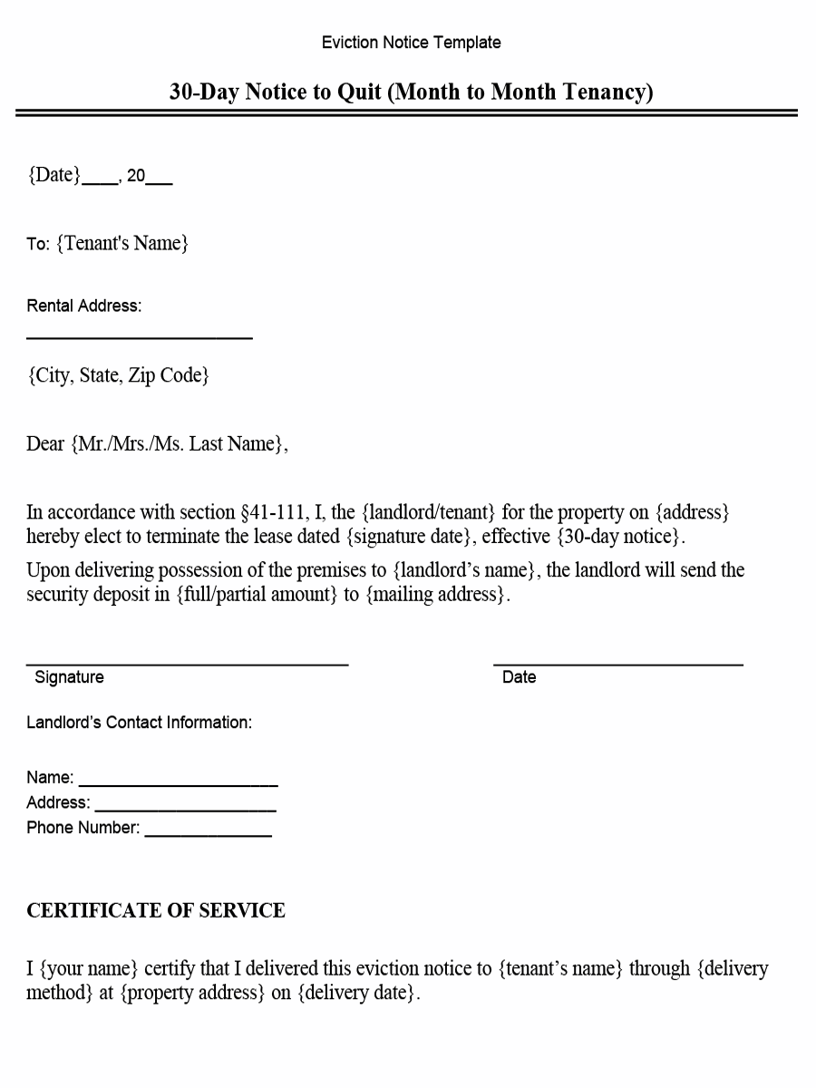 Oklahoma 30-Day Notice to Quit (Month to Month Tenancy)