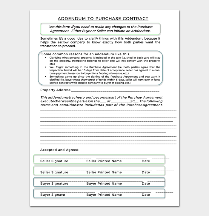 ADDENDUM TO PURCHASE CONTRACT