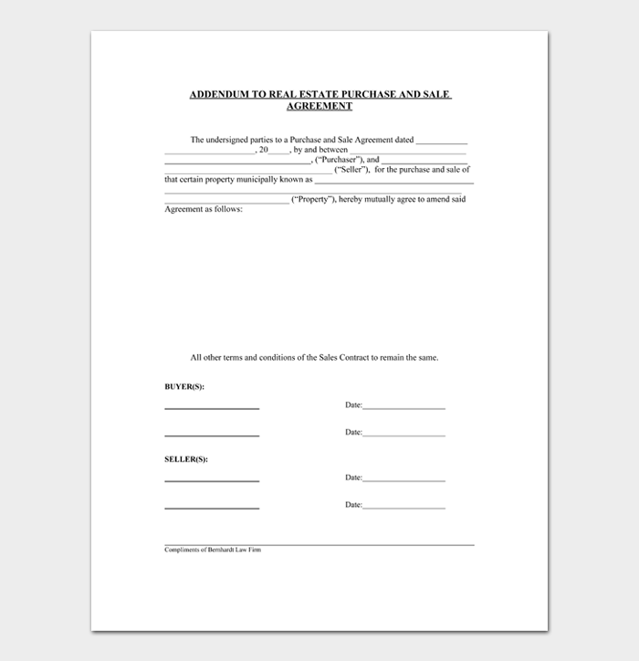ADDENDUM TO REAL ESTATE PURCHASE AND SALE