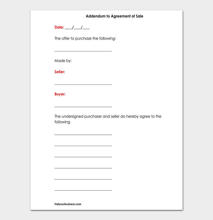 Addendum to Agreement of Sale