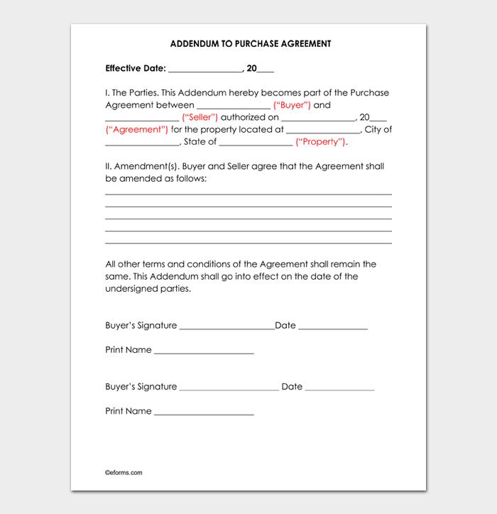 Addendum to Purchase Agreement Form Iowa