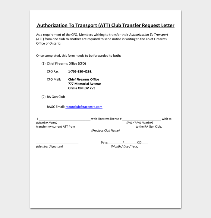 Authorization To Transport (ATT) Club Transfer Request Letter