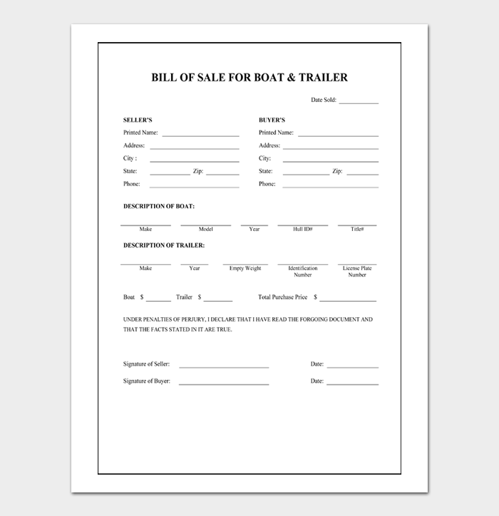 BILL OF SALE FOR BOAT & TRAILER
