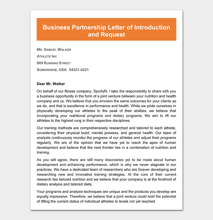 Business Partnership Letter of Introduction and Request