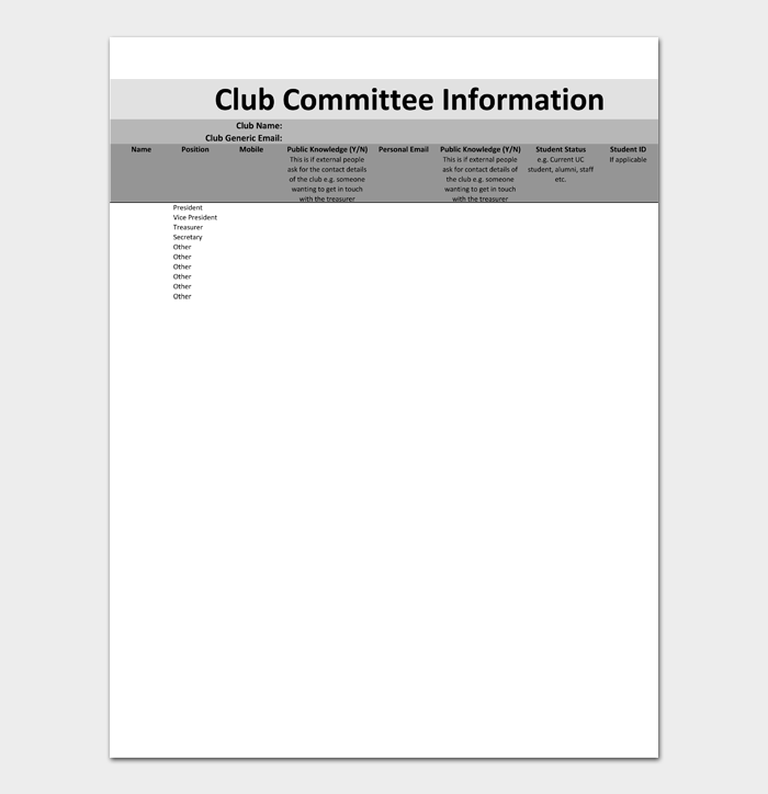 Club Comittee Information