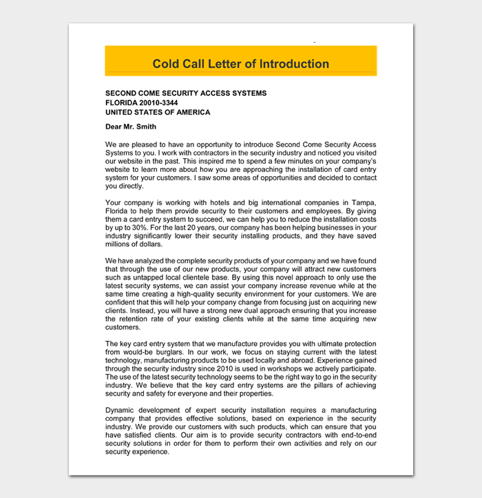 Cold Call Letter of Introduction