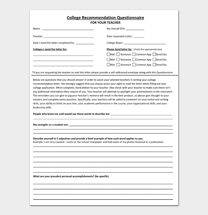 College Recommendation Questionnaire