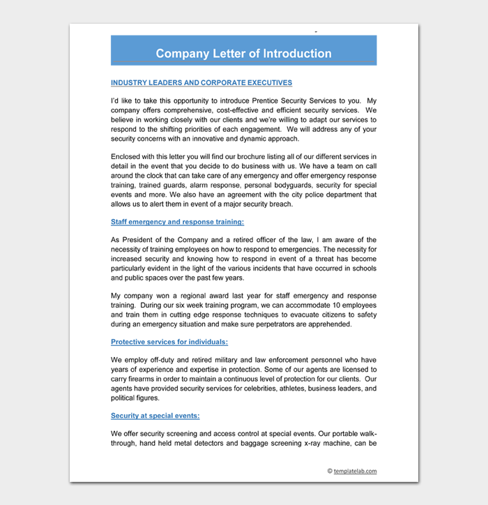 Company Letter of Introduction