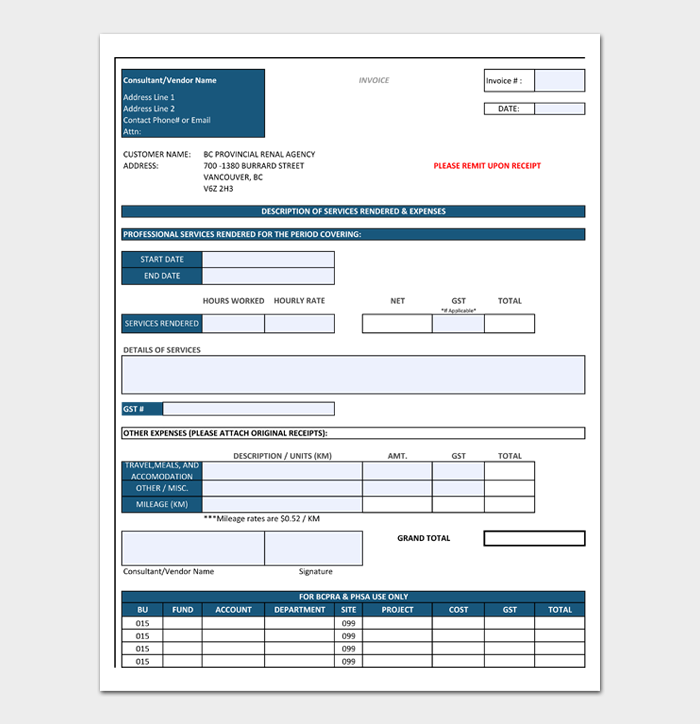Construction Invoice Template #01