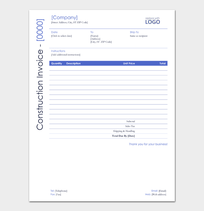 Construction Invoice Template #02