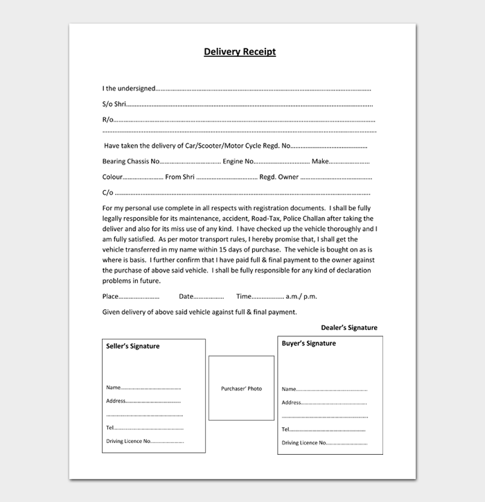 Delivery Receipt Template #02
