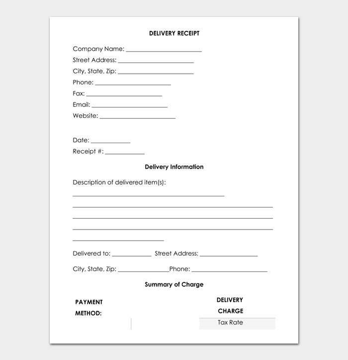 Delivery Receipt Template Sample