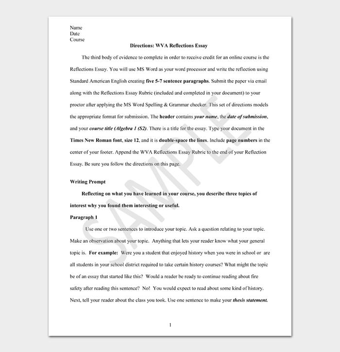 Directions WVA Reflections Essay