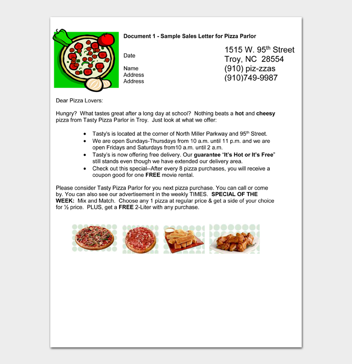 Document 1 – Sample Sales Letter for Pizza Parlor