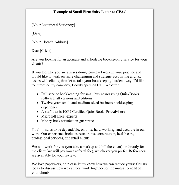 Example of Small Firm Sales Letter to CPAs