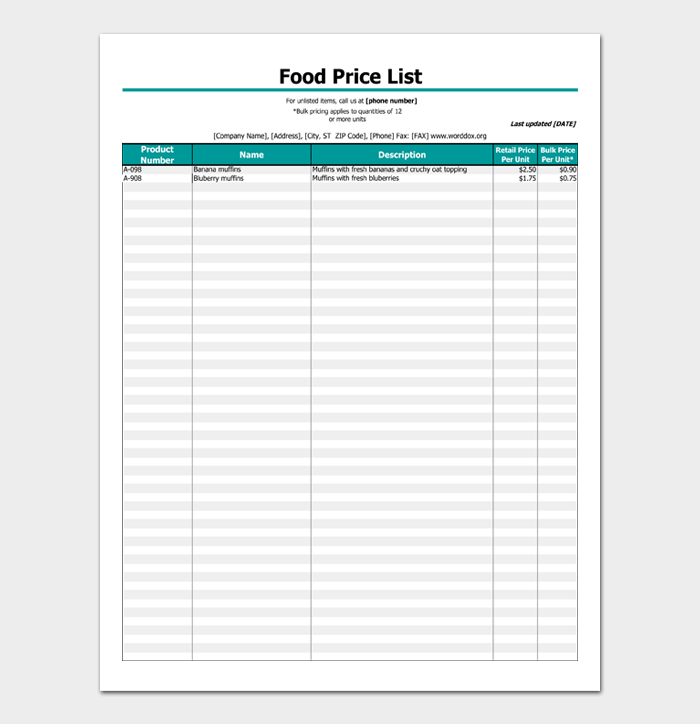 Food Price List