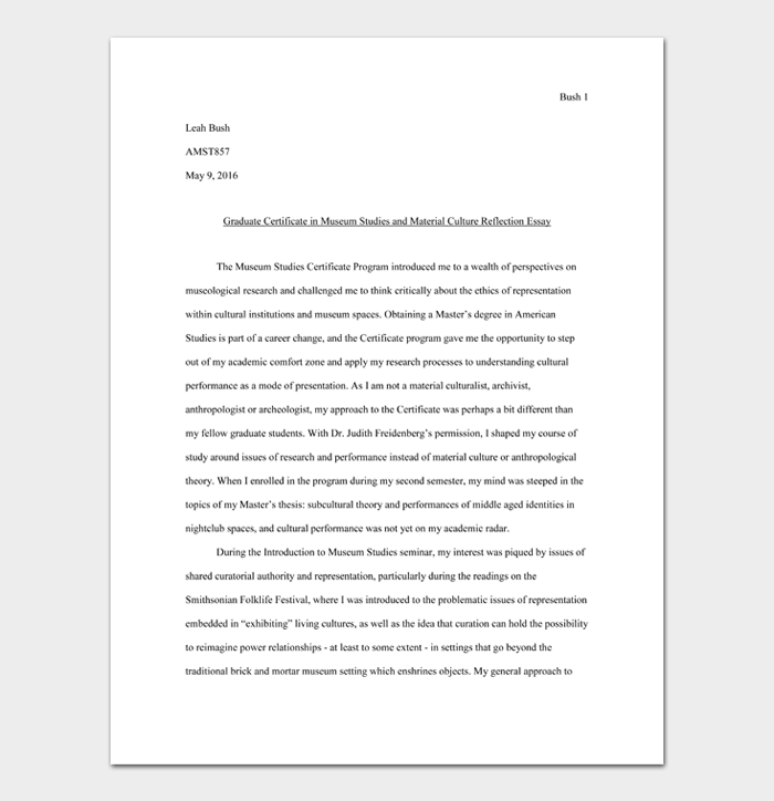 Graduate Certificate in Museum Studies and Material Culture Reflection Essay