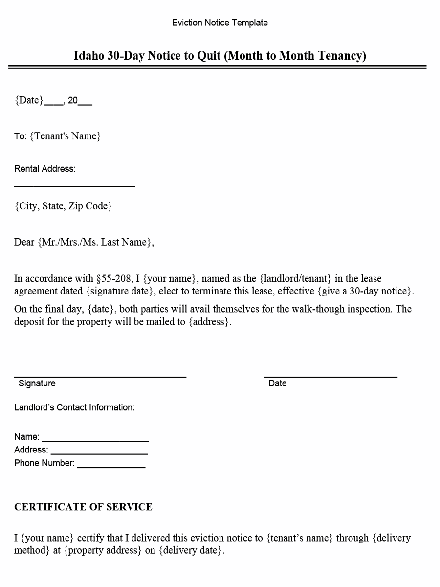 Idaho 30-Day Notice to Quit (Month to Month Tenancy)
