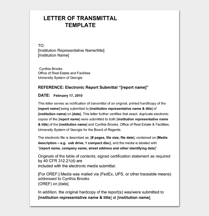 LETTER OF TRANSMITTAL TEMPLATE
