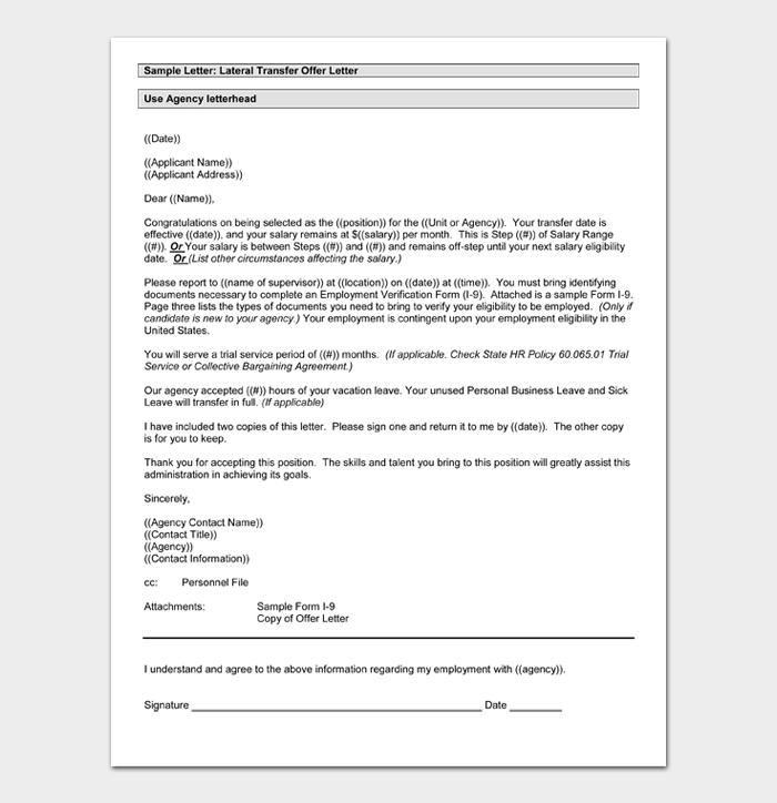 Lateral Transfer Offer Letter
