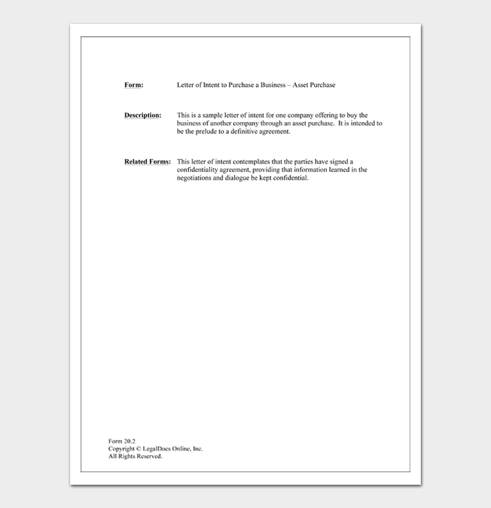 Letter of Intent to Purchase a Business – Asset Purchase