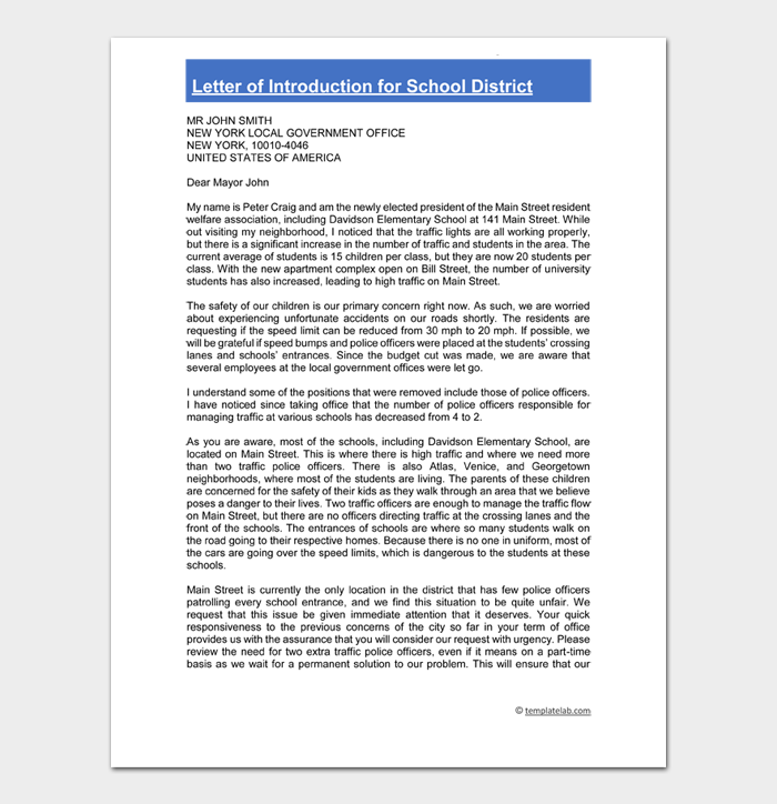 Letter of Introduction for School District