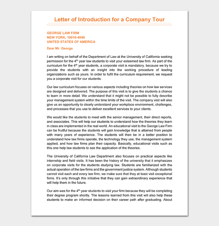 Letter of Introduction for a Company Tour