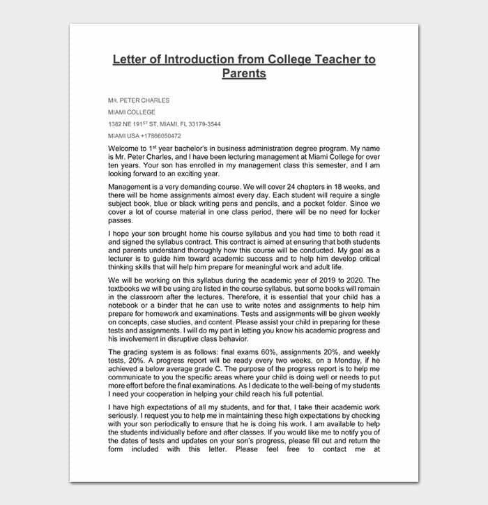 Letter of Introduction from College Teacher to Parents