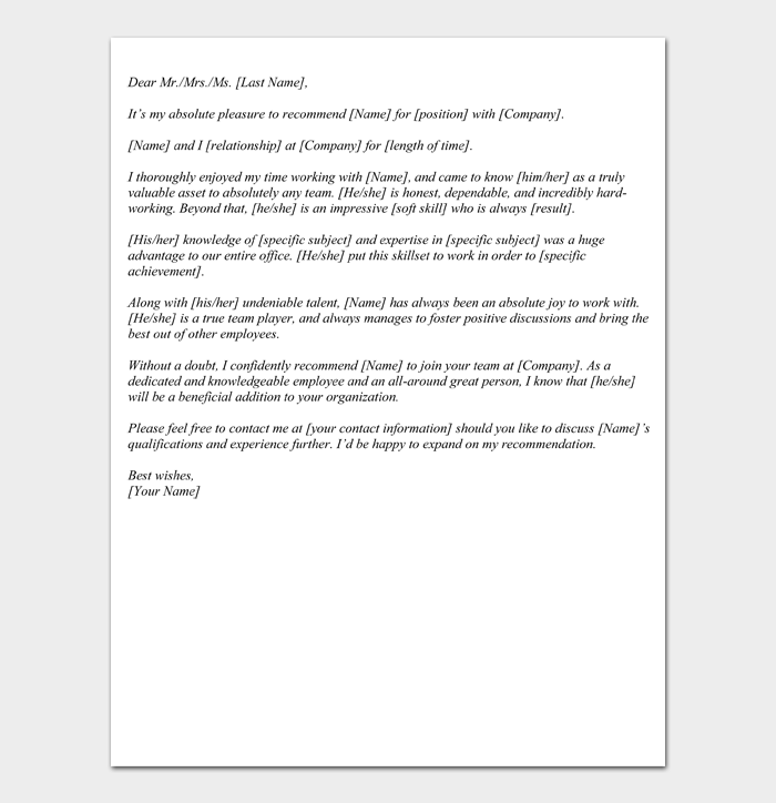 Letter of Recommendation Templates #01