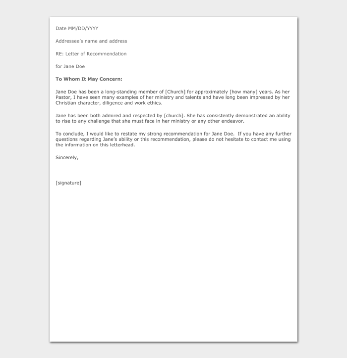 Letter of Recommendation Templates #03