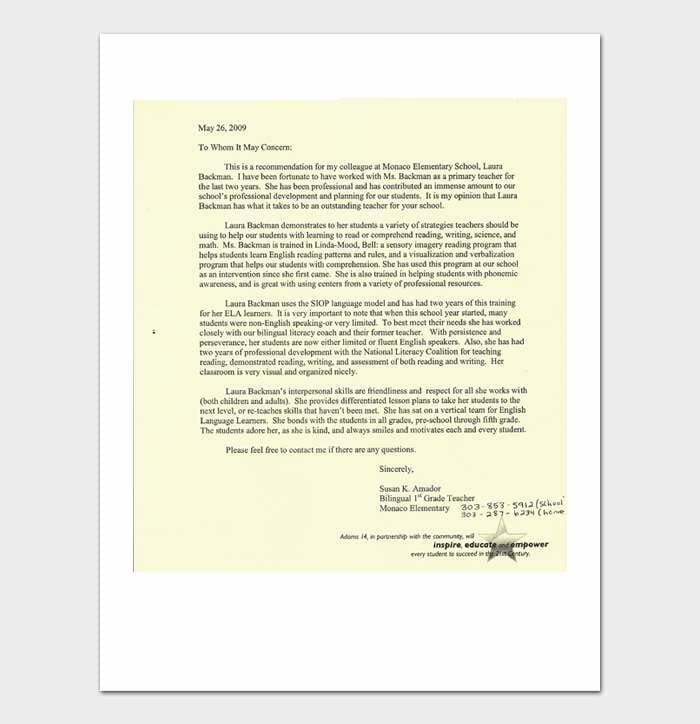 Letter of Recommendation Templates #04