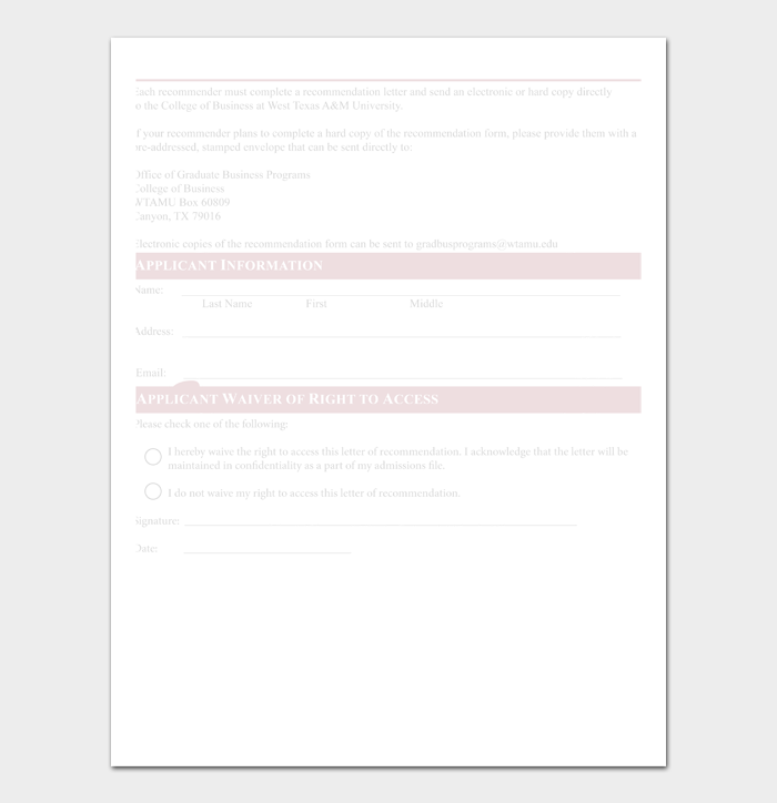 Letter of Recommendation Templates #07