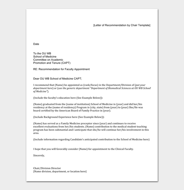 [Letter of Recommendation by Chair Template]