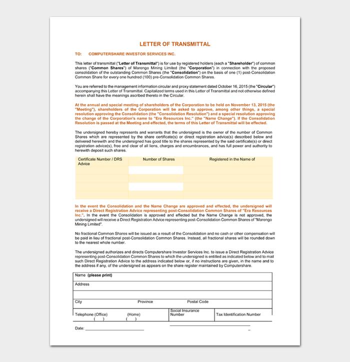 Letter of Transmittal #07