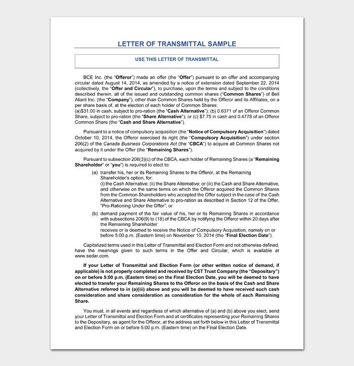 Letter of Transmittal #10