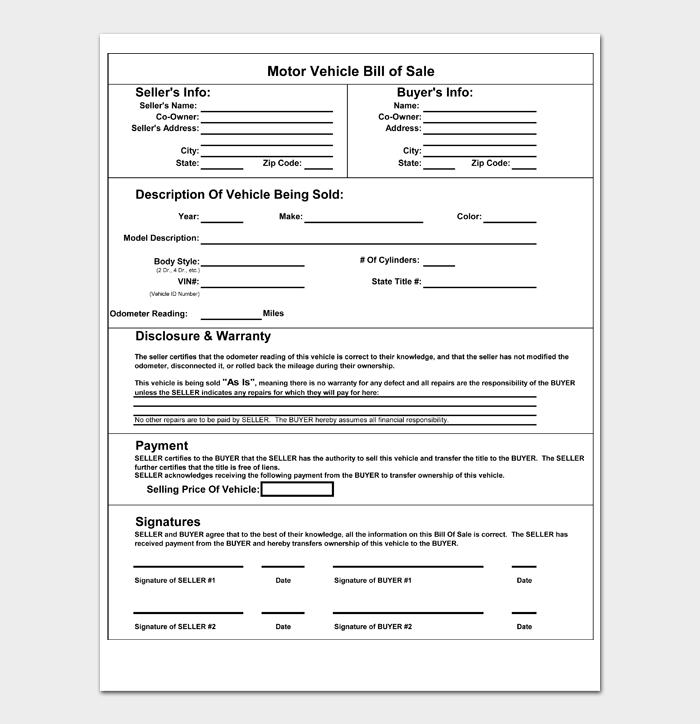 Motor Vehicle Bill of Sale