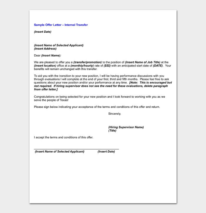 Offer Letter for Internal Transfer