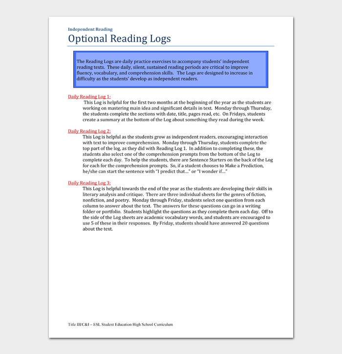 Optional Reading Logs