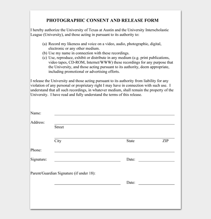 PHOTOGRAPHIC CONSENT AND RELEASE FORM