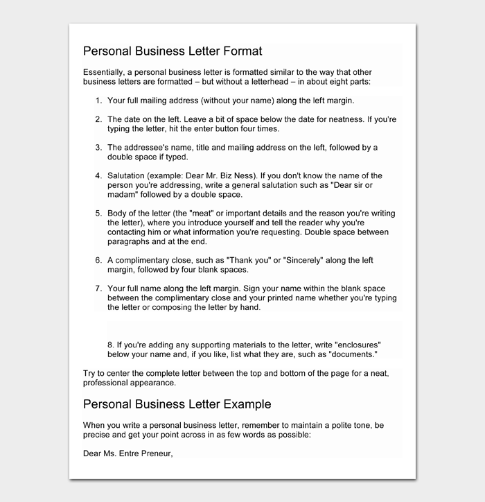Personal Letter Format #04
