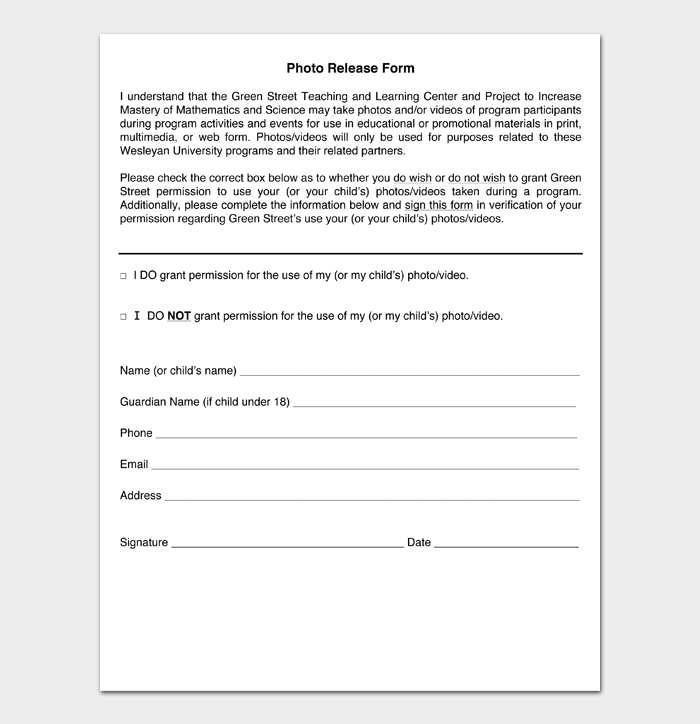 Photo Release Form #02